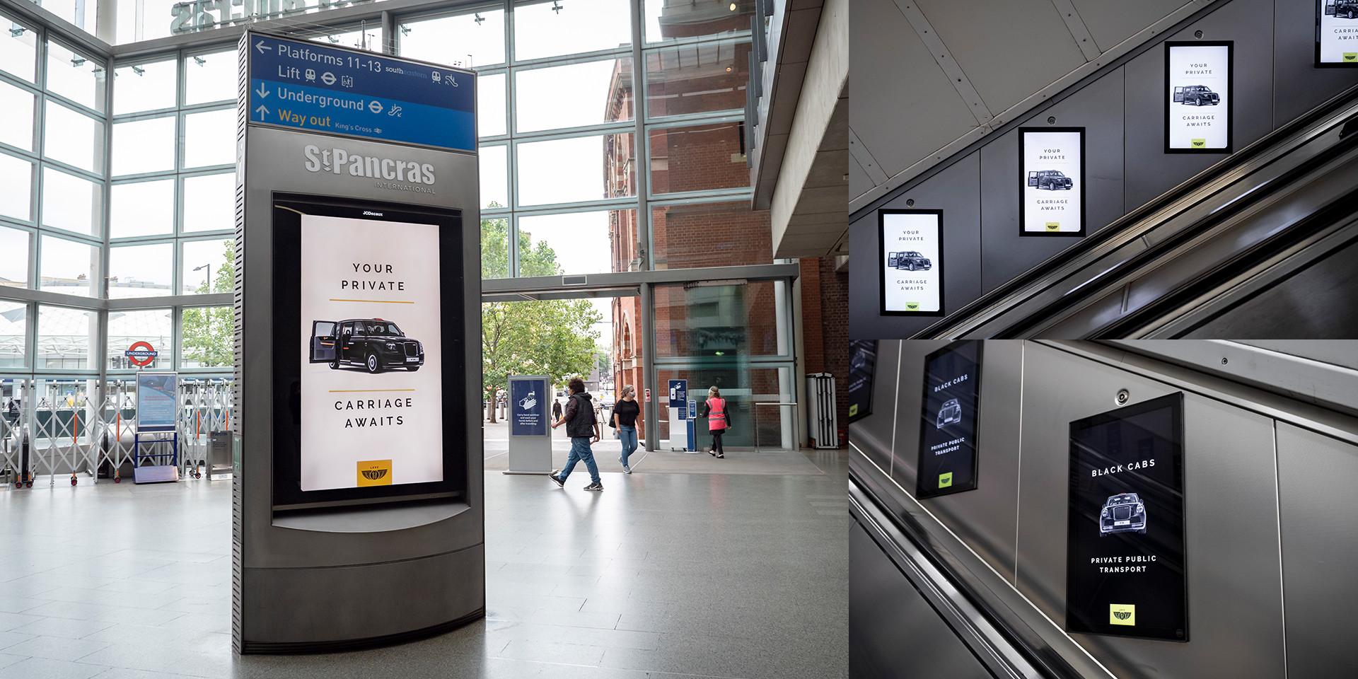 LEVC ads in St Pancras station and tube escalators in London