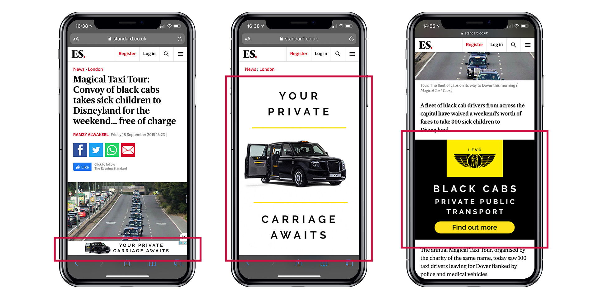 Geo targeting LEVC campaign - mobile ad examples